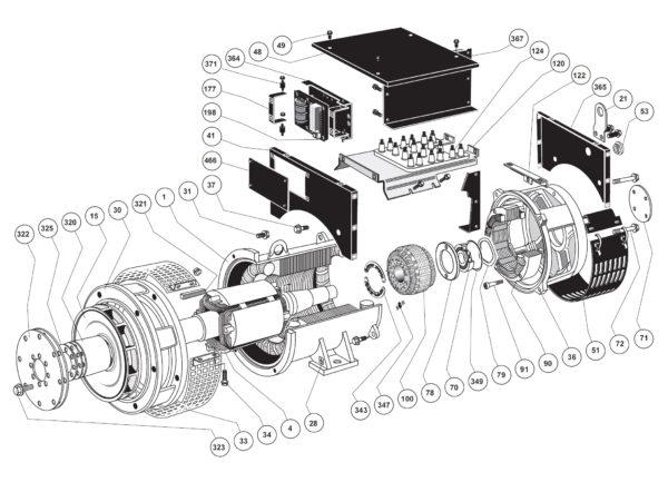 Сборочная диаграмма одноопорного генератора LSA 46.2 IM1201
