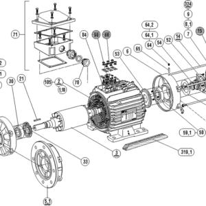 Запасные части асинхронных электродвигателей 3~ LS 80-90-100-112-132-160-180-200-225-250-280-315