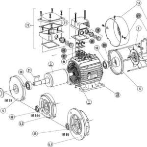 Запасные части асинхронных электродвигателей 3~ LS 56-63-71