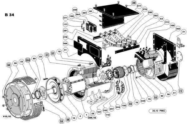 Схема запасных частей двухопорного генератора LSA 49.1 ACTR
