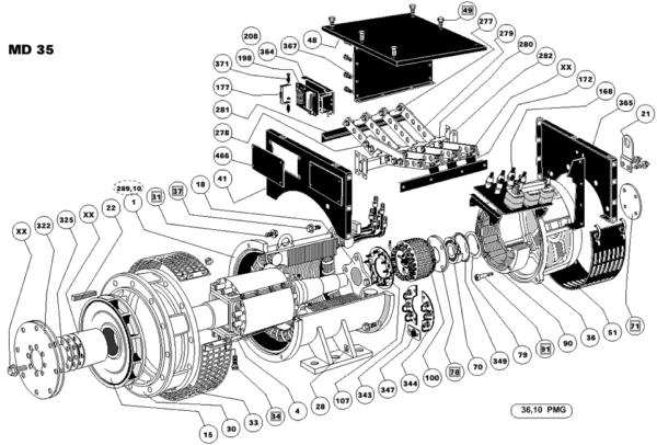 Схема запасных частей одноопорного генератора LSA 49.1 ACTR