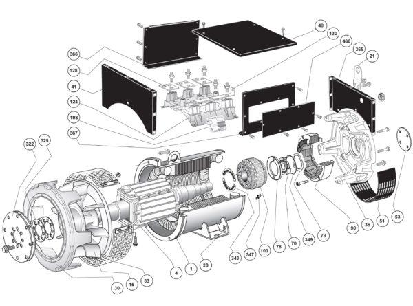 Схема запасных частей одноопорного LSA 47.2