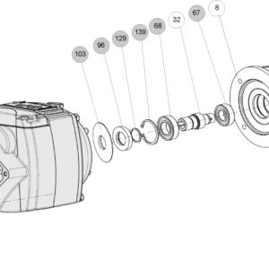 Схема запасных частей редуктора Cb 3000 для универсального монтажного исполнения MU