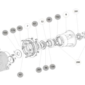 Схема запасных частей входного фланца (колокола) для установки электродвигателя мотор-редуктора Cb 3123